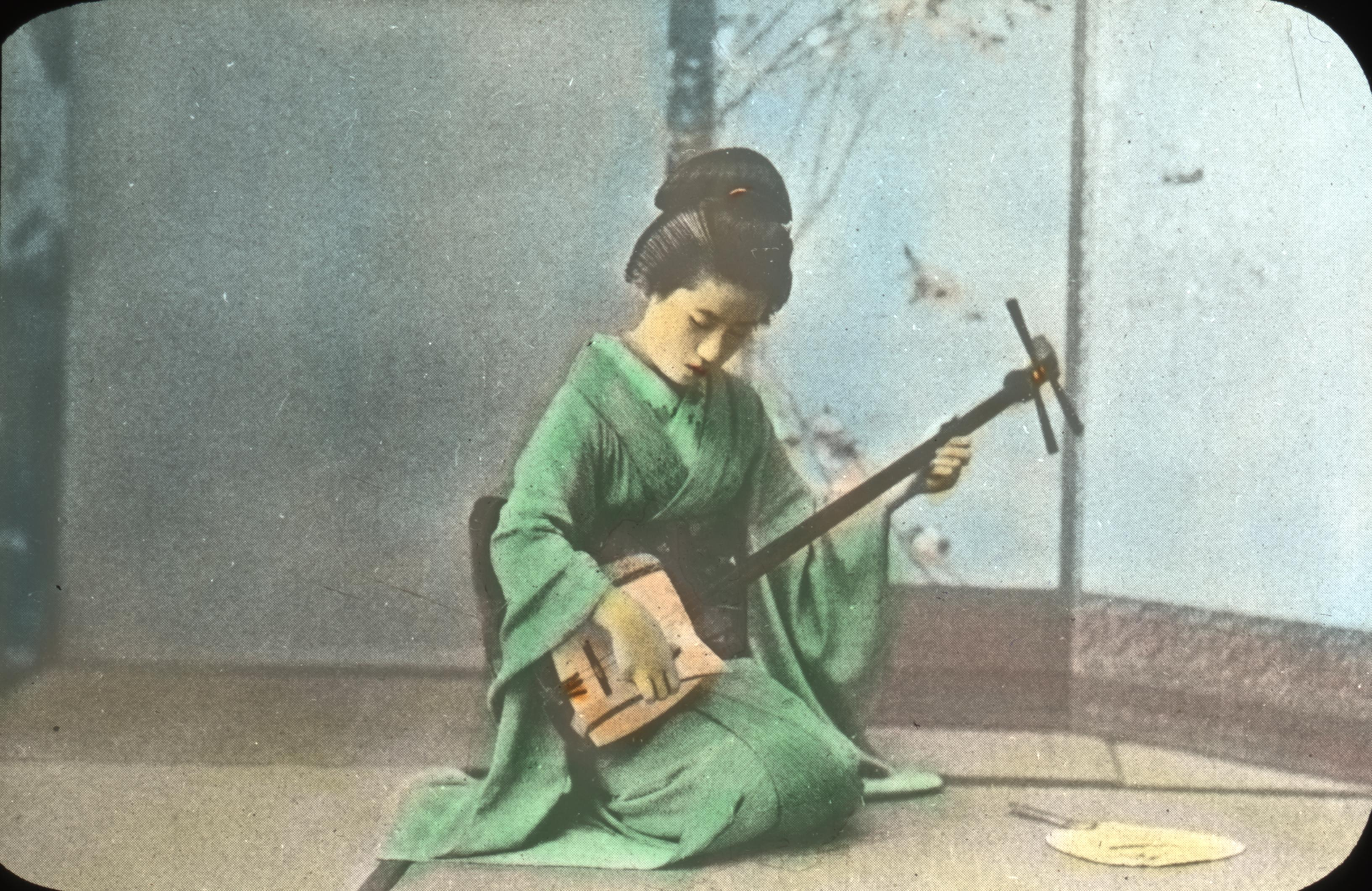 Geisha Girl Playing the Shamisen