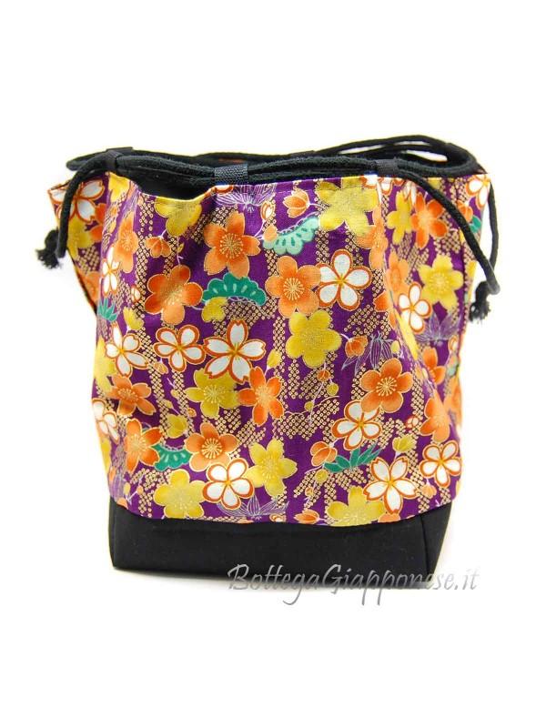 Borsetta Kinchaku viola sakura multicolori