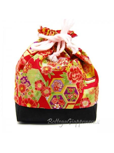 Borsetta Kinchaku rossa ajisai e sakura
