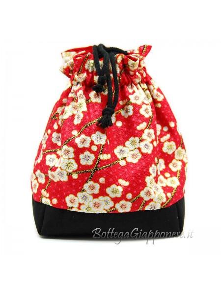 Borsetta Kinchaku rossa fiori di pruno