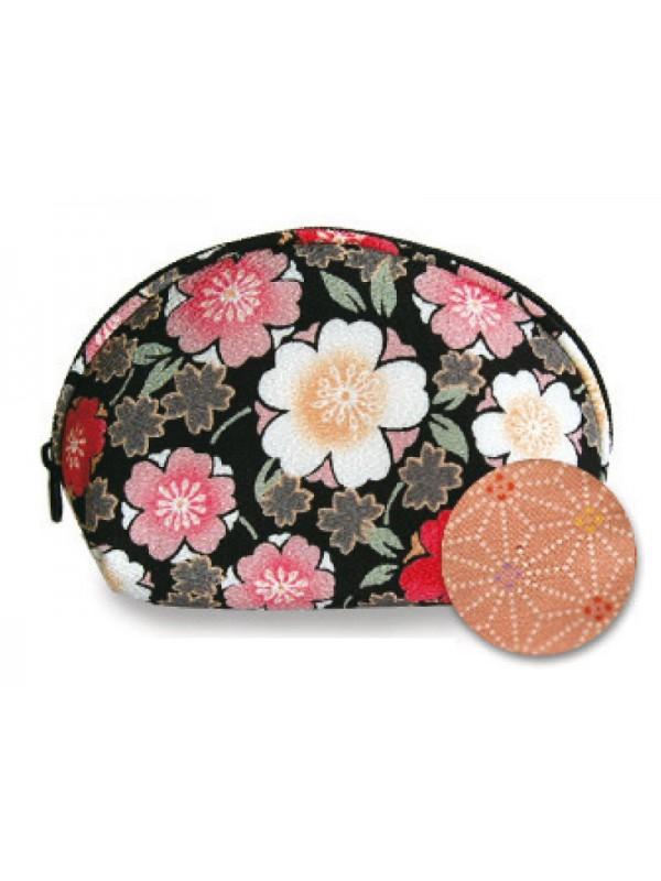 Porta trucco nero fiori sakura