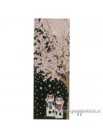 Tenugui art fiori sakura maneki neko