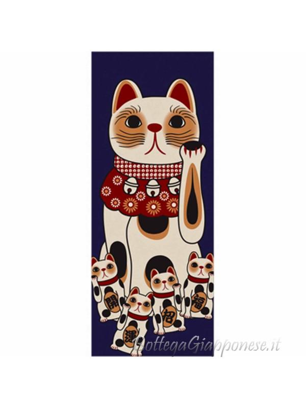 Tenugui art fuku neko fortune cat