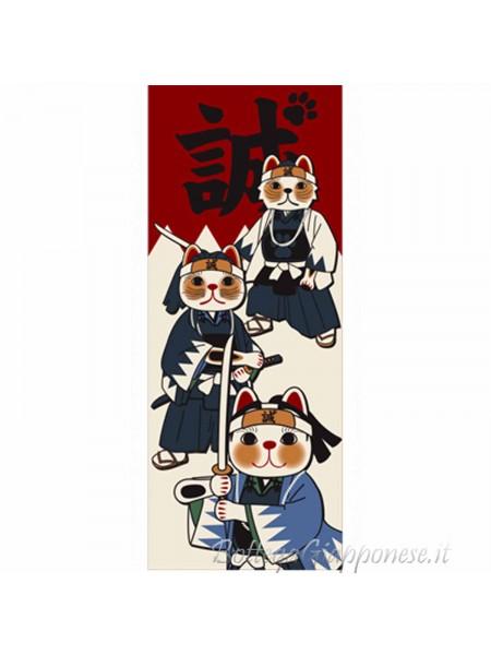 Tenugui art fuku neko samurai