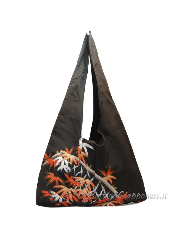 Borsa kimono in seta foglie