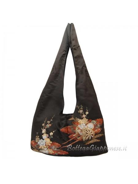 Borsa kimono in seta carro fiori