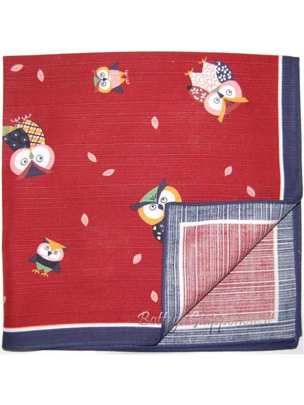 Furoshiki stoffa con disegni gufi fukuro rosso (50cm)