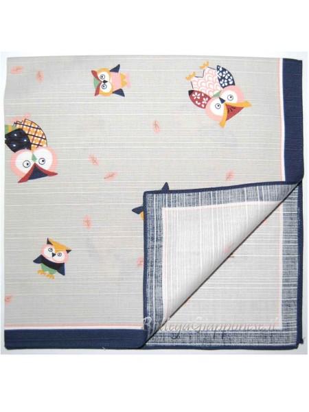 Furoshiki tovagliolo con disegni gufi fukuro grigio (50cm) chiaro