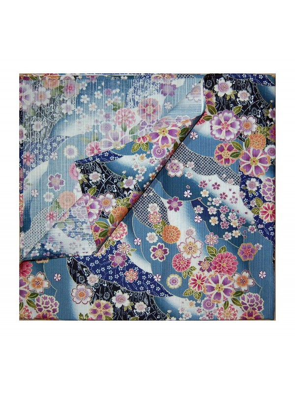 Furoshiki motivo fiume di fiori (74x74cm) blu