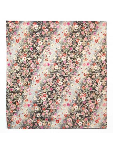 Furoshiki motivo fiori su sfondo nero (52x52cm)