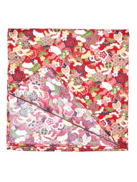 Furoshiki motivo kimono giapponese (52x52cm) rosso