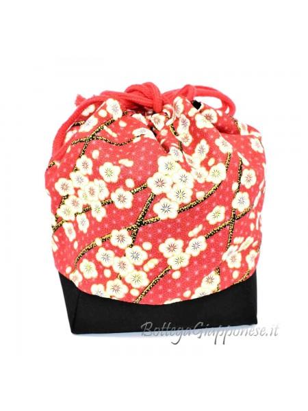 Borsetta Kinchaku rossa sakura