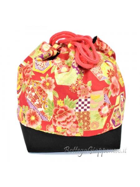 Borsetta Kinchaku rossa ajisai (mod.b)