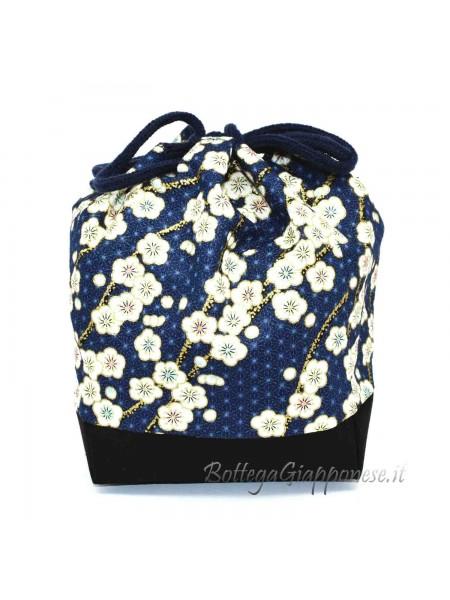 Borsetta Kinchaku blue sakura