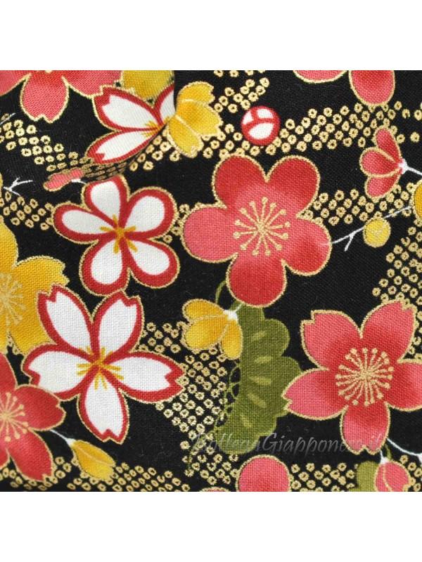 Borsetta Kinchaku nera sakura