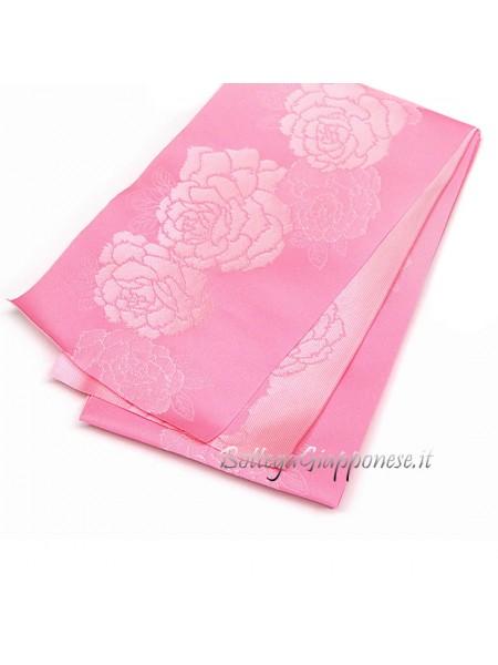 Obi cintura fiori damascati yukata kimono rosa
