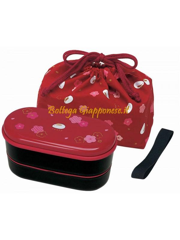 Bento usagi (rosso) completo di borsa e bacchette