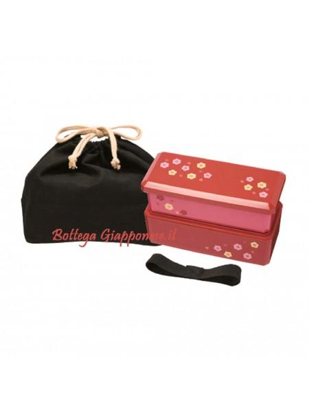 Bento lunchbox set rosso fiori con borsa