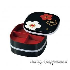 Bento jubako picnic fiori umè due ripiani