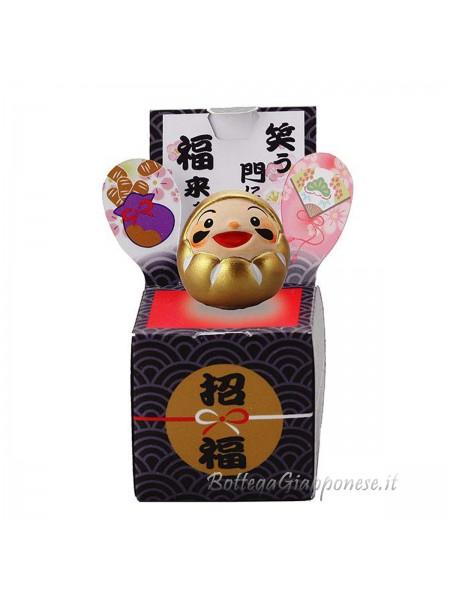 Daruma 3,5 cm dorato con scatola