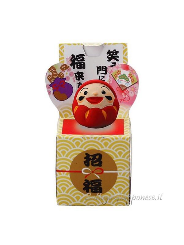 Daruma 3,5 cm rosso con scatola