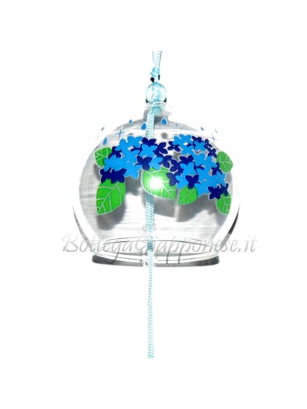 Fuurin vetro campanella disegno di fiori ortensia
