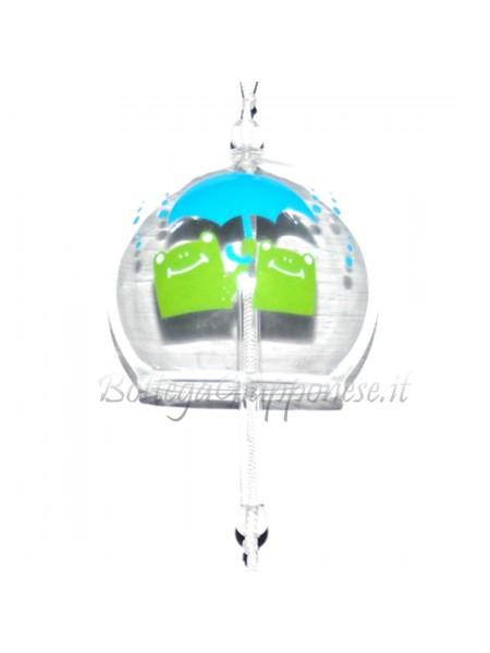 Fuurin vetro campanella ranocchi con ombrello celeste