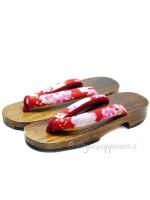 Geta Sandali in legno sakura-rosso (mis. L)