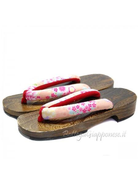 Geta Sandali in legno hanao rosa sakura (mis. L)