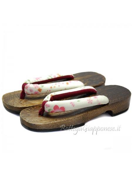 Geta Sandali in legno hanao bianco (mis. L)