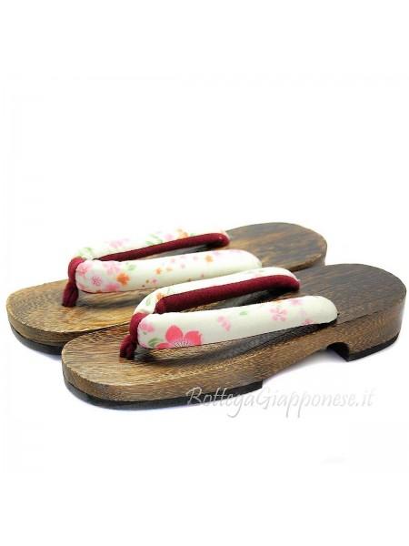 Geta Sandali legno hanao bianco (mis. M) Shiro