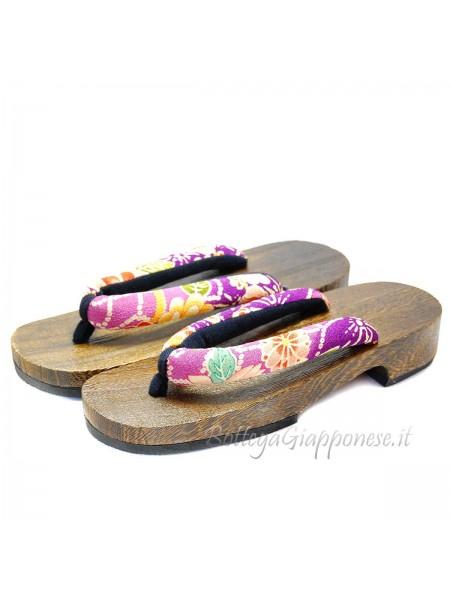 Geta Sandali in legno hanao viola e fiori (mis. L)