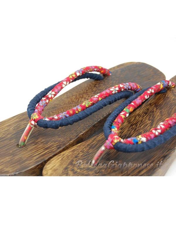 Geta Sandali in legno e hanao doppio (mis. M) rosso