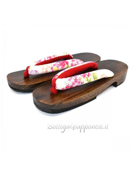 Geta Sandali legno hanao bianco-rosso (mis. L)