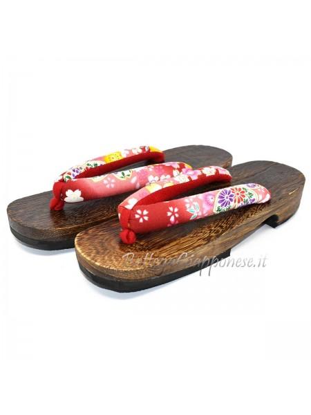 Geta Sandali legno hanao rosso sakura (mis. L)