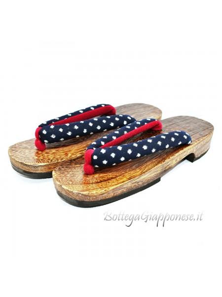 Geta Sandali in legno hanao blue rosso (mis. L)