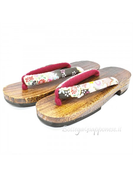 Geta Sandali in legno infradito nero sakura  (mis. L)