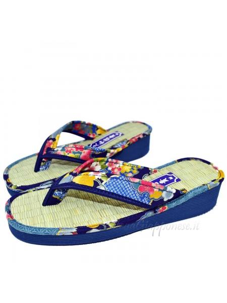 Zori infradito sandali naturali giapponesi blu