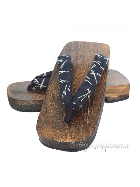 Geta infradito in legno blu hanao