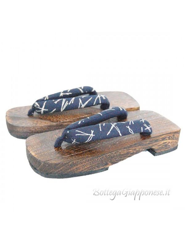 Geta sandali in legno infradito blu hanao