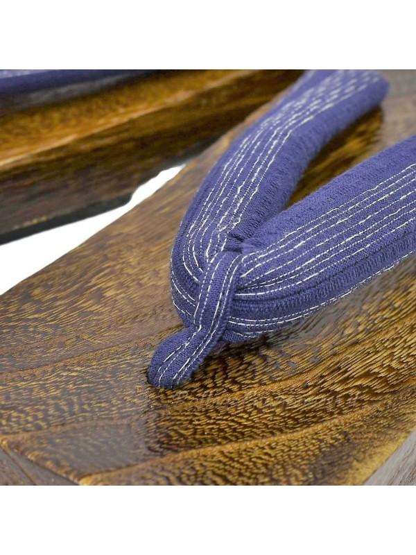 Geta in legno infradito blu a righe