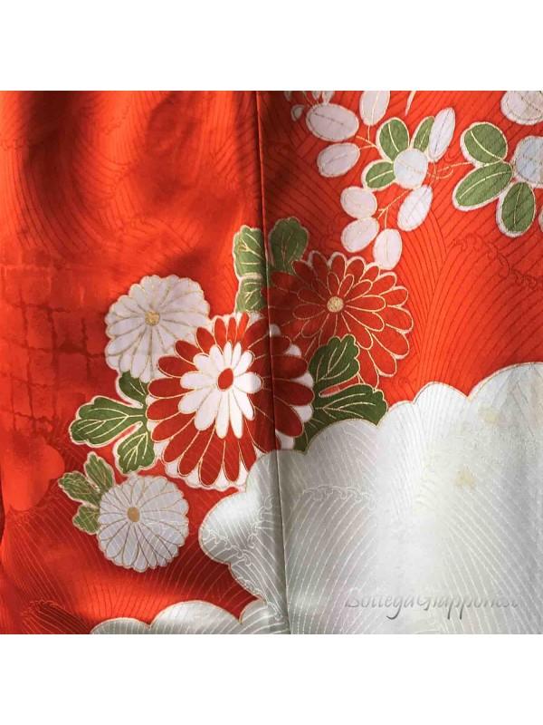 Furisode kimono seta Hanaguruma