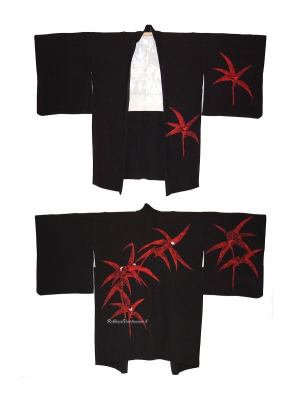 Haori giacca kimono in seta foglie grandi