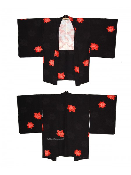 Haori giacca kimono in seta foglie damascato