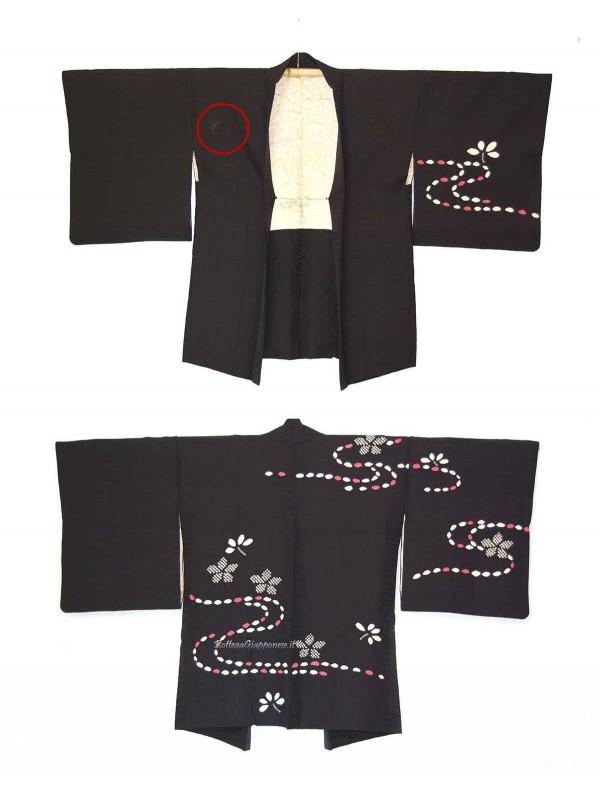 Haori giacca kimono in seta sakura shibori