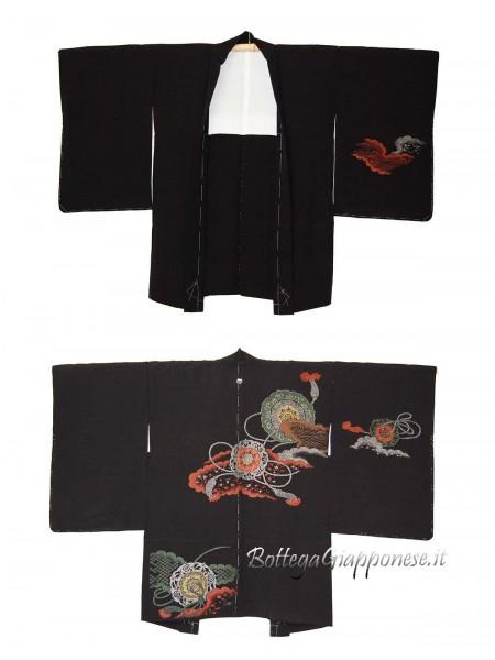Haori giacca nera in seta tsuzumi