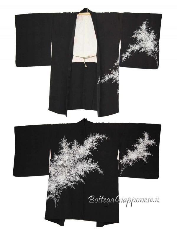 Haori giacca nera in seta con bambù bianco