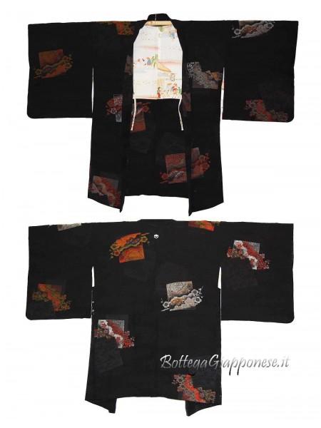 Haori giacca in seta damascata con quadrati