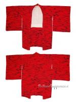 Haori giacca rosso con disegno nero