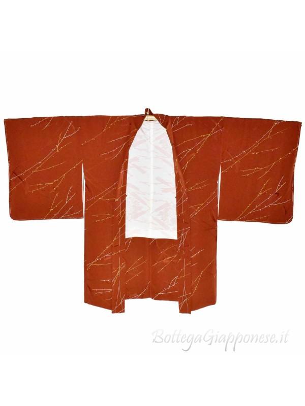 Haori giacca kimono seta colore terracotta